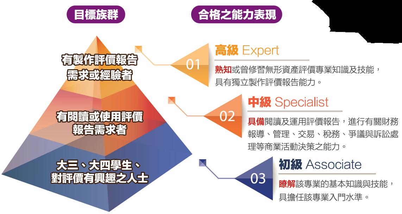 ▲無形資產評價能力鑑定之定位及等級規劃。